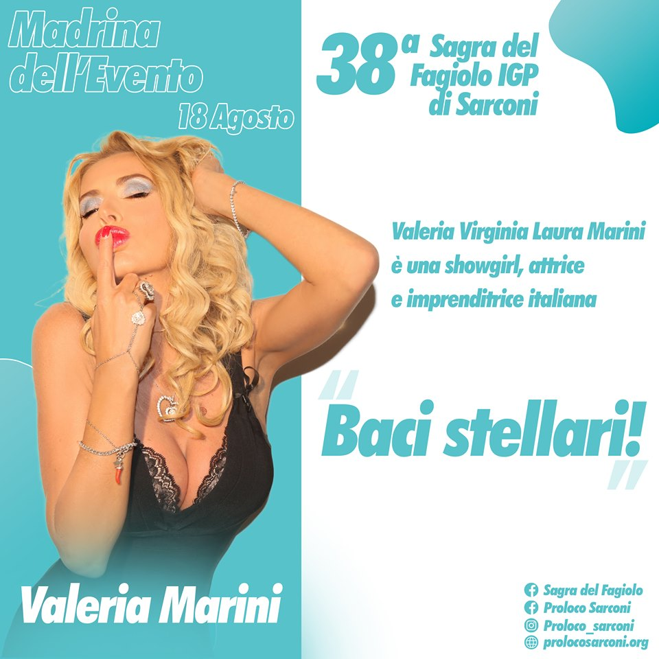 Calendario Valeria Marini.Valeria Marini Madrina A Sarconi Della Sagra Del Fagiolo