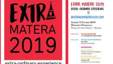 """Photo of Venerdì 11 ottobre a Matera inaugurazione """"Infopoint Extra Matera 2019"""" per dare visibilità alla Val d'Agri e alla Val Camastra"""
